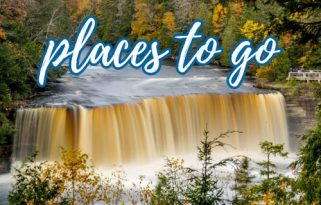 """Photo of a waterfall with a brown tinge surrounded by autumn foliage with text overlay reading """"Places to go"""""""