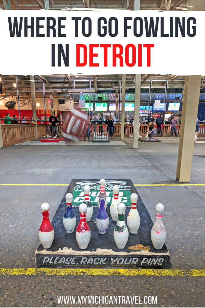 """Photo of bowling pins lined up on a wooden platform with a football flying toward them and text overlay reading """"Where to go fowling in Detroit"""""""