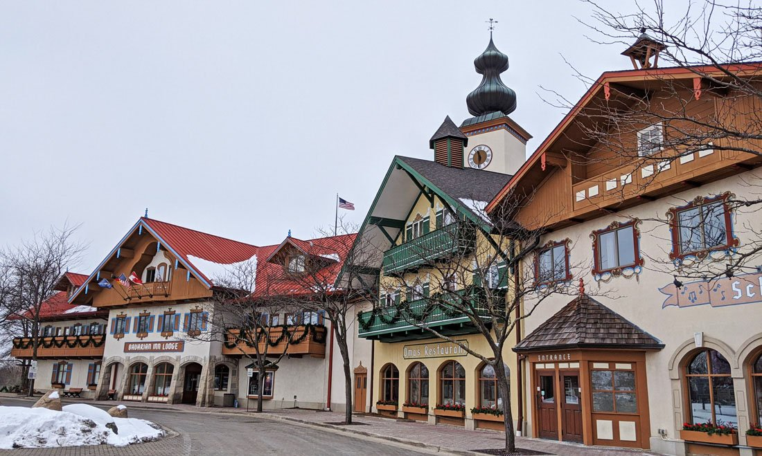 The Bavarian Inn Lodge, a large hotel with a facade decorated like traditional Bavarian architecture, with beams and domes.