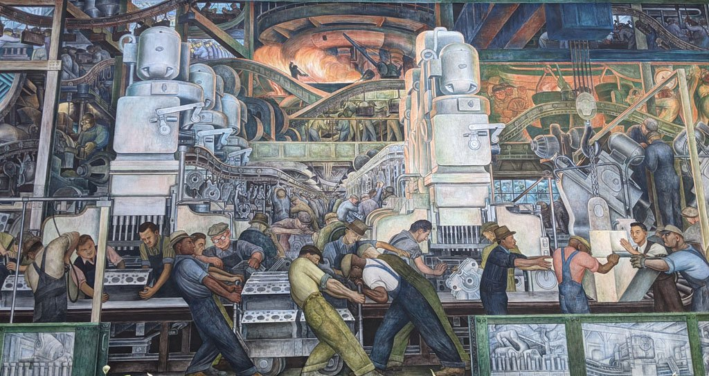 Diego Rivera mural at the DIA showcasing workers in Detroit's automotive plants working on an assembly line