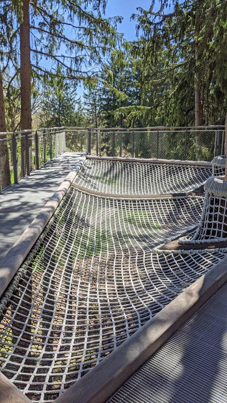 Large hammock-like area made of cargo nets in the Dow Gardens canopy walk