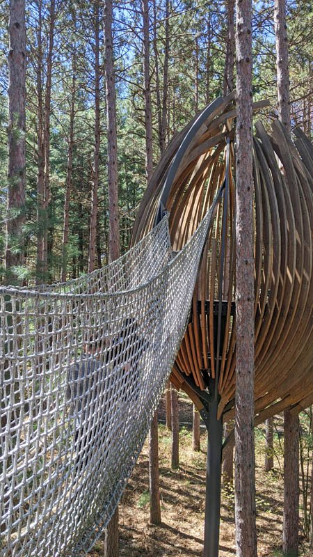 Treehouse like pod with a rope bridge leading out to it at the Dow Gardens canopy walk
