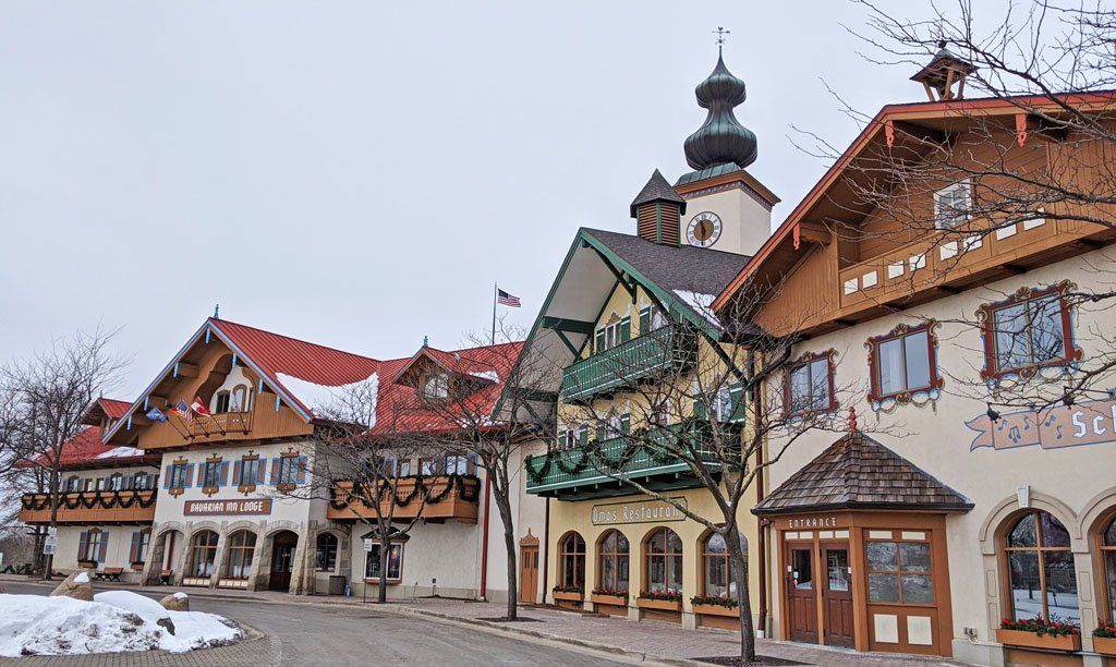 Large hotel in Frankenmuth, Michigan with Bavarian style architecture