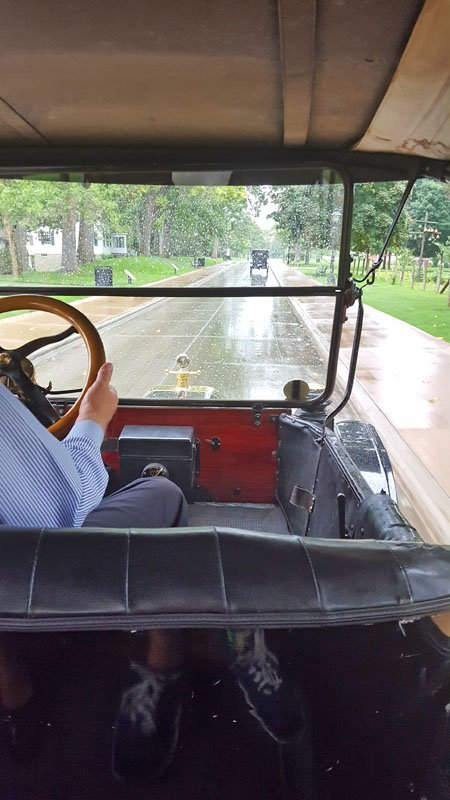 View from inside of a Model T on a drizzly day