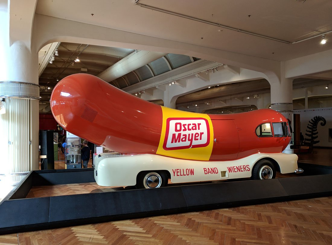 Hot dog-shaped Oscar Meyer Weinermobile on display at the Henry Ford Museum