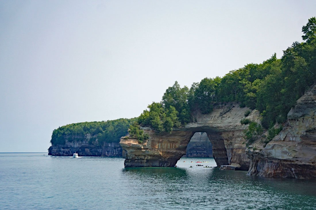Lovers Leap archway arcing over the Lake Superior shoreline in Pictured Rocks National Lakeshore