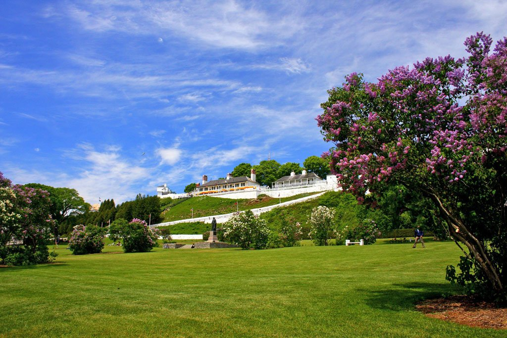 View of historic Fort Mackinac under blue skies