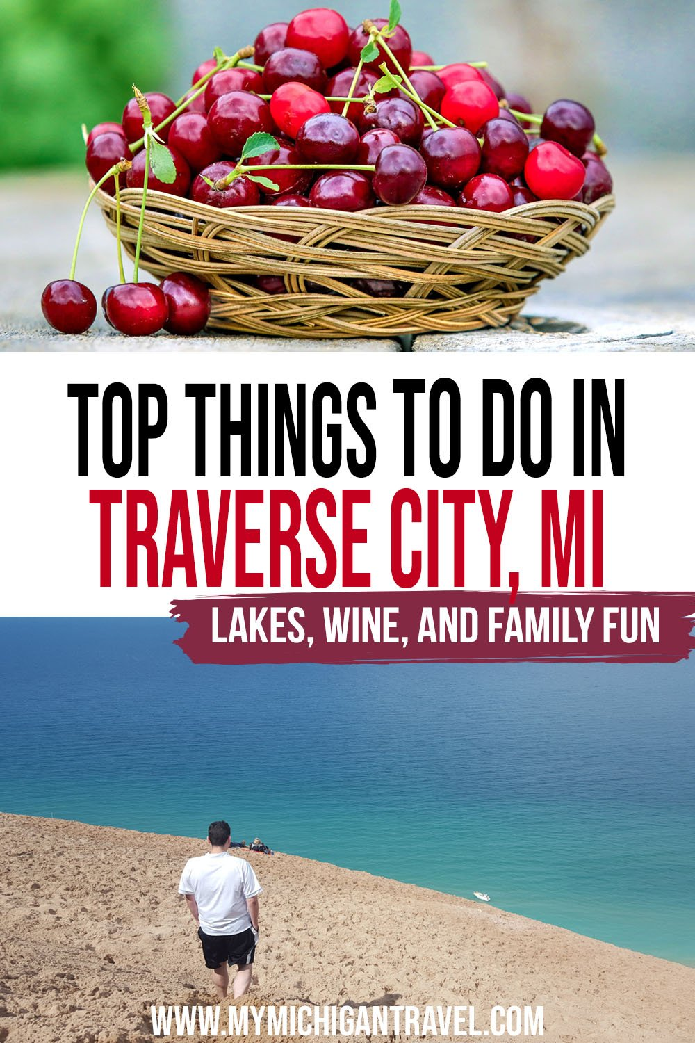 """Photo collage with images of a basket of ripe cherries and a man in a white tshirt walking down a steep sand dune toward turquoise waters with text overlay reading """"top things to do in Traverse City, MI - lakes, wine, and family fun"""""""
