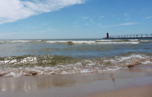 Waves crashing on the beach in South Haven, Michigan