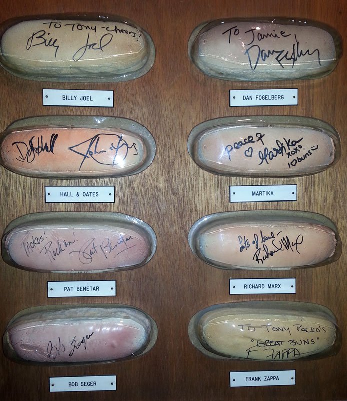 Plaque with autographed hot dog buns bearing celebrity names at Tony Packo's in Toledo, Ohio