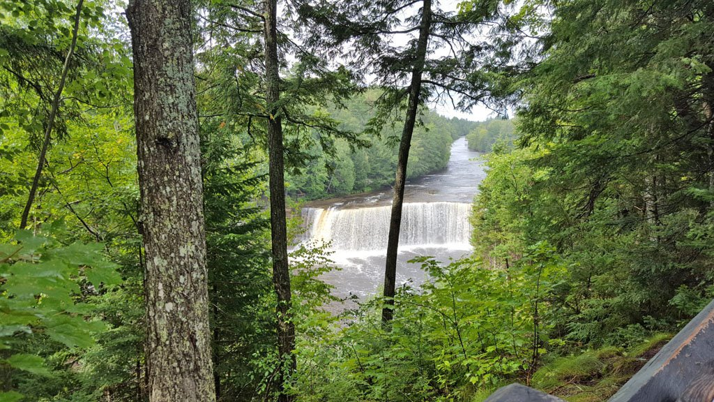 Upper Falls at Tahquamenon State Park, one of the best places to visit in Michigan