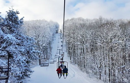Skiers riding a chairlift surrounded by snow-covered trees